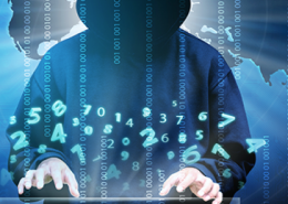 Hacker in front of computer surrounded by binary code for network security awareness